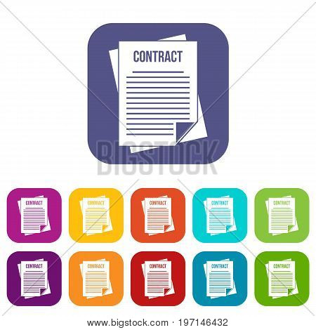 Contract icons set vector illustration in flat style in colors red, blue, green, and other