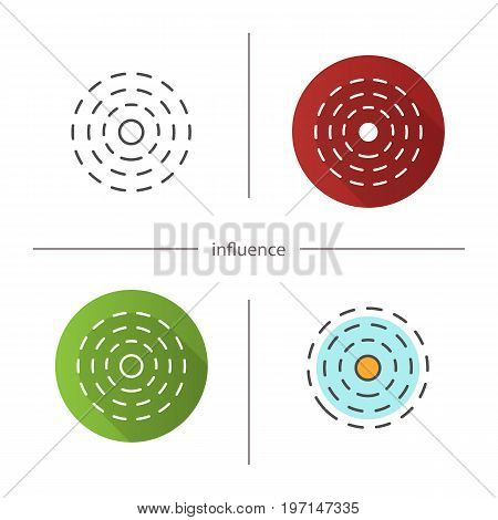 Influence abstract symbol icon. Flat design, linear and color styles. Isolated vector illustrations