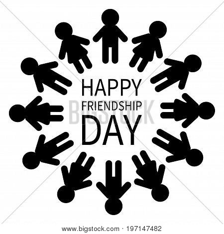 Happy Friendship Day. Man and woman pictogram icon sign. People round circle. Male Female silhouette. Black color. Boys girls holding hands. Friends forever symbol. Flat design White background Vector