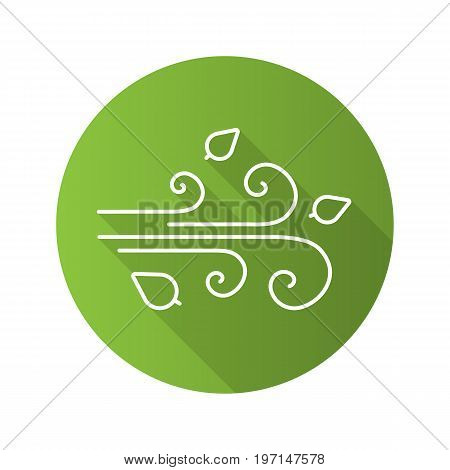 Wind blowing flat linear long shadow icon. Windy weather. Vector outline symbol
