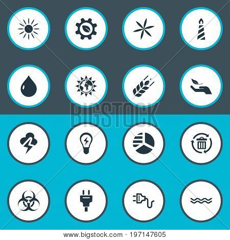 Elements Fire Wax, Wheat, Leaf And Other Synonyms Sunglow, Innovation And Peril.  Vector Illustration Set Of Simple Energy Icons.