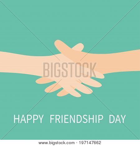 Happy Friendship Day. Handshake icon. Two hands arms reaching to each other. Shaking hands. Close up body part. Friends forever. Helping hand. Green background Isolated. Flat design. Vector