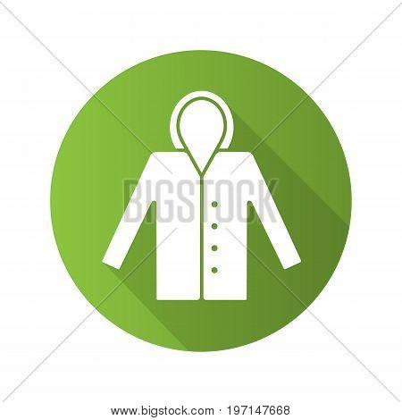 Raincoat flat design long shadow glyph icon. Waterproof coat. Vector silhouette illustration