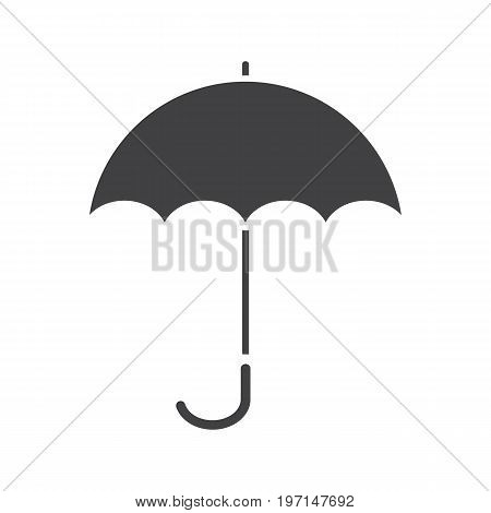Umbrella glyph icon. Silhouette symbol. Opened rain umbrella. Negative space. Vector isolated illustration