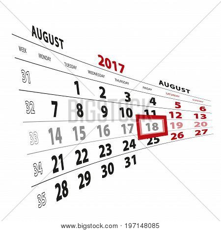 18 August Highlighted On Calendar 2017. Week Starts From Monday.