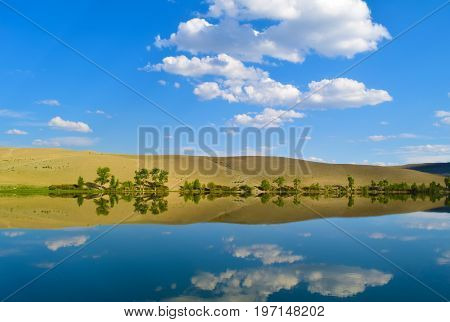 Quiet lake yellow hills and blue sky in Altai mountains. White clouds reflected in water. Chuya prairie Altay Republic Siberia Russia.