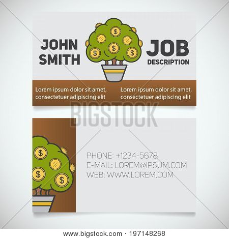 Business card print template with money tree logo. Manager. Businessman. Investor. Stationery design concept. Vector illustration