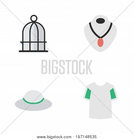 Elements Birdcage, Jersey, Jewelry And Other Synonyms Prison, Shirt And Birdcage.  Vector Illustration Set Of Simple Equipment Icons.