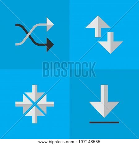 Elements Cursor, Chaotically, Loading And Other Synonyms Inwardly, Arrow And Download.  Vector Illustration Set Of Simple Pointer Icons.