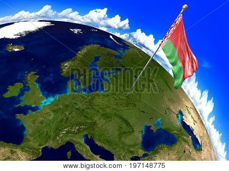 Belarus national flag marking the country location on world map. 3D rendering, parts of this image furnished by NASA