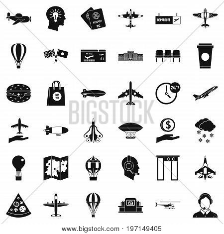 Aviation icons set. Simple style of 36 aviation vector icons for web isolated on white background