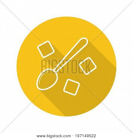 Spoon with refined sugar cubes. Flat linear long shadow icon. Lump sugar with teaspoon. Vector outline symbol