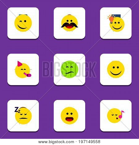 Flat Icon Gesture Set Of Cheerful, Joy, Frown And Other Vector Objects