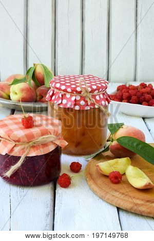 Preservation Of Peaches And Raspberries. Preparation Of Jam Or Jam From Organic Fruits And Berries O