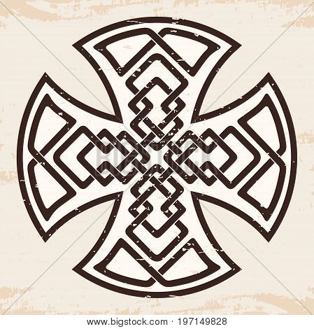 Celtic national ornament in the shape of a cross. Brown pattern on a beige background.