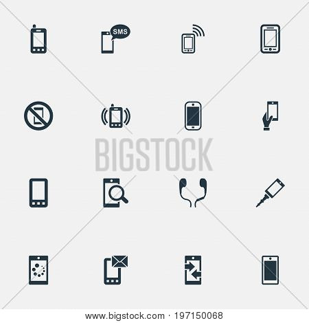 Elements Outgoing Calls, Investigate On Phone, Front Camera And Other Synonyms Forbidden, Outgoing And Incoming.  Vector Illustration Set Of Simple Smartphone Icons.