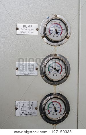 Three of pressure gauge measuring instrument, pump
