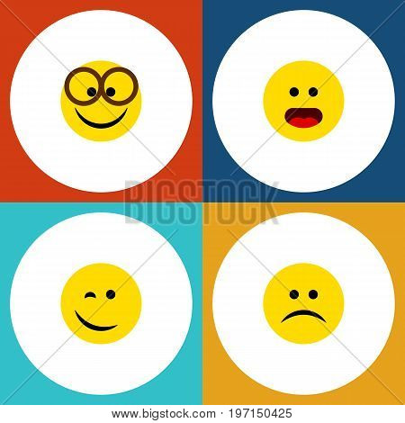 Flat Icon Emoji Set Of Sad, Wonder, Winking And Other Vector Objects
