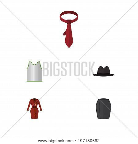 Flat Icon Clothes Set Of Stylish Apparel, Panama, Cravat And Other Vector Objects