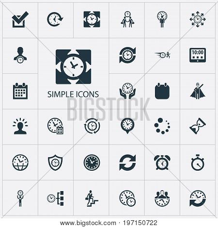 Elements Time Management, Refresh, Director And Other Synonyms Administrator, Meeting And Calendar.  Vector Illustration Set Of Simple Management Icons.