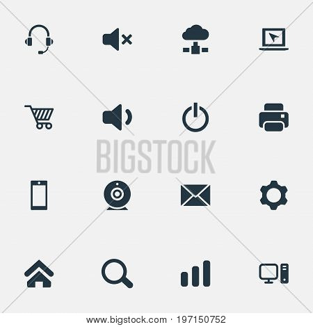 Elements Headphone, Home, Quiet Sound And Other Synonyms Communication, Cogwheel And Begin.  Vector Illustration Set Of Simple Technology Icons.