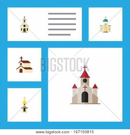 Flat Icon Church Set Of Traditional, Building, Religious And Other Vector Objects