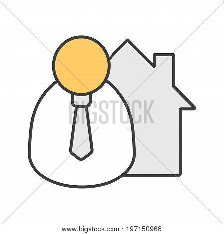 Broker color icon. Realtor. Isolated vector illustration