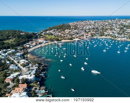 Aerial view of Watsons Bay harbour. Watsons Bay is a harbour side suburb of Sydney in the state of New South Wales Australia.