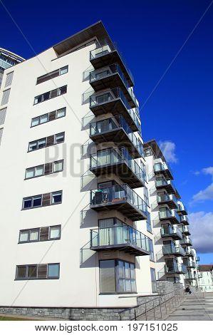 Swansea, Wales, UK - February, 2017:  Modern luxury flat apartments in Swansea Bay