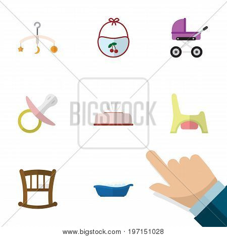 Flat Icon Kid Set Of Nipple, Stroller, Toilet And Other Vector Objects