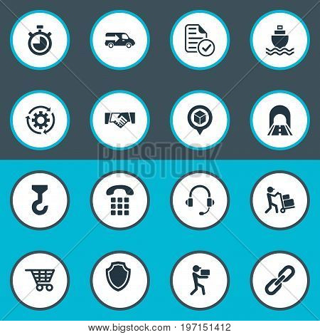 Elements Hook, Supporting, Sea Transport And Other Synonyms Chronimetr, Lorry And Delivery.  Vector Illustration Set Of Simple Systematization Icons.