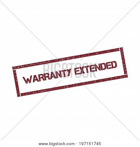 Warranty Extended Rectangular Stamp. Textured Red Seal With Text Isolated On White Background, Vecto