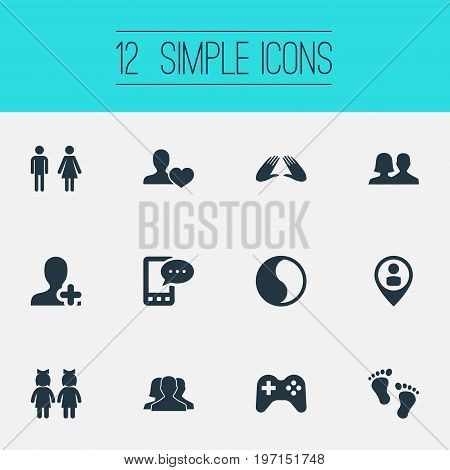 Elements Ensemble, Balance, Add Friend And Other Synonyms Friend, Love And Male.  Vector Illustration Set Of Simple  Icons.