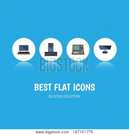 Flat Icon Computer Set Of Processor, Notebook, Technology And Other Vector Objects