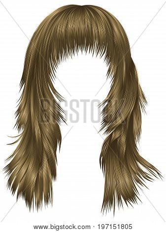 trendy woman long hairs brown blonde beige colors . beauty fashion . realistic 3d