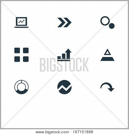 Elements Pie Bar, Ahead, Test And Other Synonyms Pie, Top And Triangle.  Vector Illustration Set Of Simple Diagram Icons.