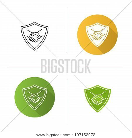Safe bargain icon. Flat design, linear and color styles. Protection shield with handshake. Isolated vector illustrations