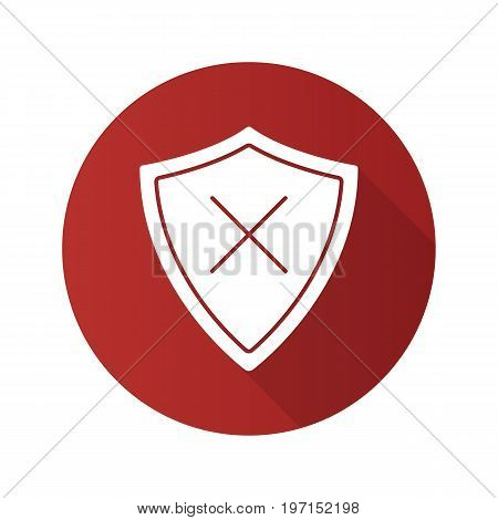 Security flat design long shadow glyph icon. Protection shield with cancel cross. Vector silhouette illustration