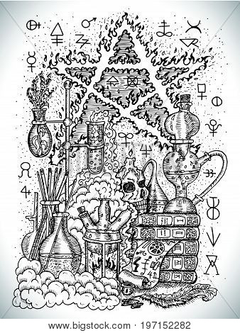 Black and white drawing with alchemical symbols, skull, pentagram and laboratory equipment. Occult and esoteric vector illustration, tattoo concept, gothic engraved background