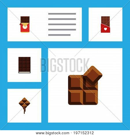 Flat Icon Chocolate Set Of Chocolate, Chocolate Bar, Dessert And Other Vector Objects