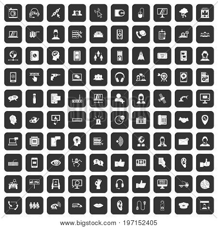 100 call center icons set in black color isolated vector illustration