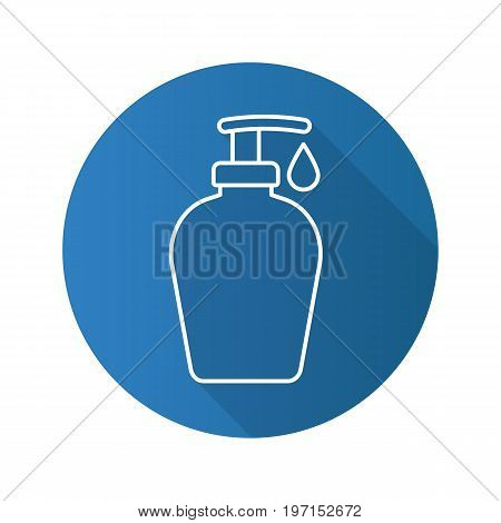 Shower gel flat linear long shadow icon. Liquid soap bottle with drop. Vector outline symbol