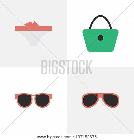 Elements Sunglasses, Lingerie, Woman Bag And Other Synonyms Handbag, Woman And Sunglasses.  Vector Illustration Set Of Simple Accessories Icons.