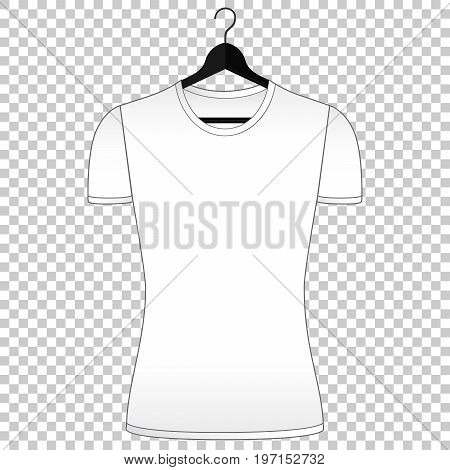 Tshirt mockup. Woman clothes front view. Simple isolated vector. Tshirt template for fashion design presentation or advertising.