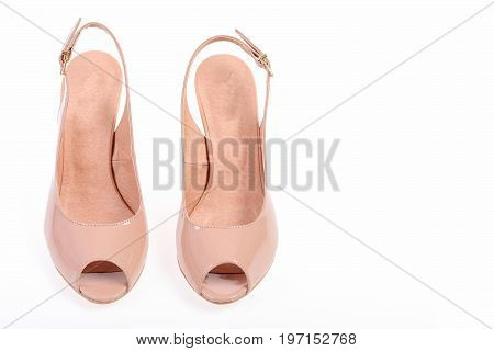 Fashion And Beauty Concept: High Heel Shoes In Pink Colour