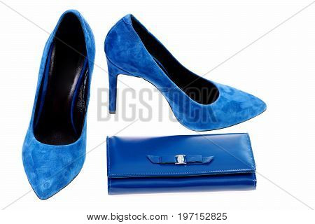Dark Blue Shoes And Clutch Isolated On White Background