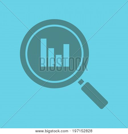 Statistics search glyph color icon. Silhouette symbol. Digital charts. Magnifying glass with growth chart. Negative space. Vector isolated illustration
