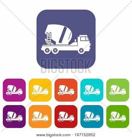 Concrete mixer truck icons set vector illustration in flat style in colors red, blue, green, and other