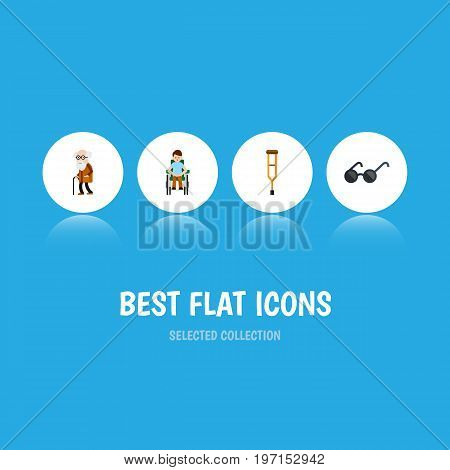 Flat Icon Disabled Set Of Disabled Person, Spectacles, Stand Vector Objects