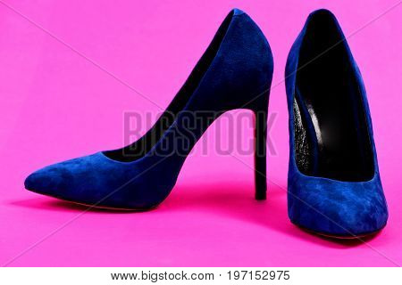 Pair Of Formal Suede Female Shoes. Shoes In Dark Blue